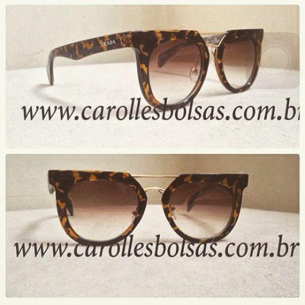 f2b23ed72cf46 Óculos Prada novo redondo onça - Loja de carollesbolsas