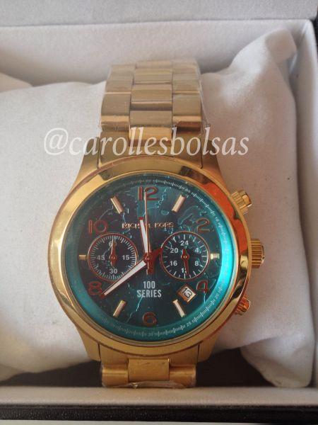 Relógio Michael Kors 8315 dourado turquesa pequeno - Loja de ... 4b34e8b6a4